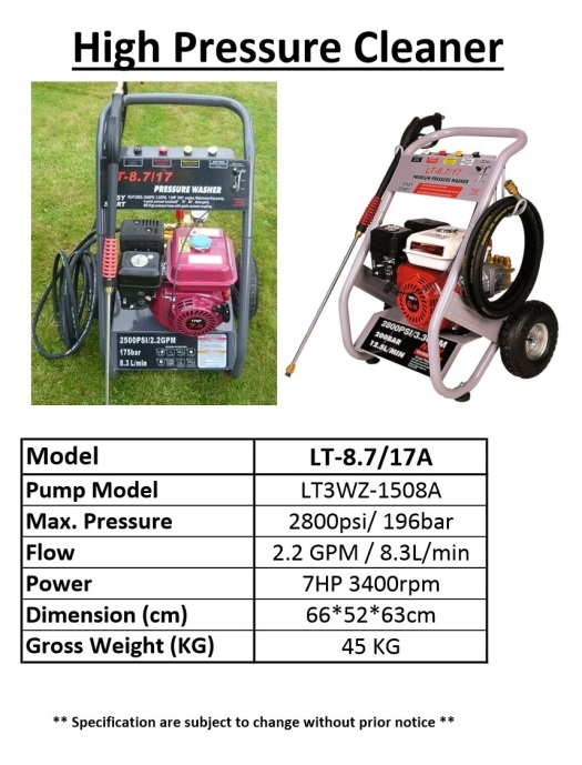 HEAVY DUTY HIGH PRESSURE WATER JET CLEANER PETROL  lt-8.7