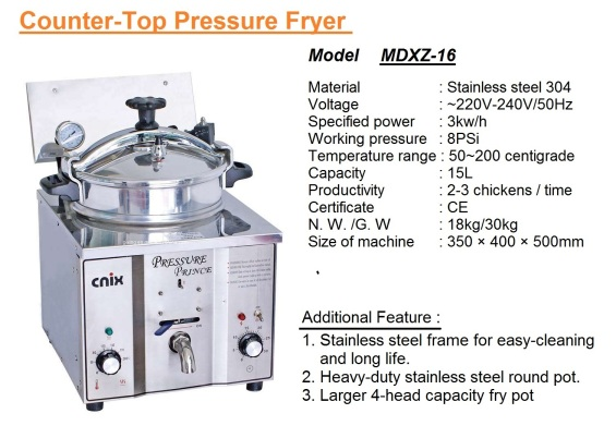 F2 Table-Top-Chicken Pressure Deep Fryer MDXZ-16 pengoreng