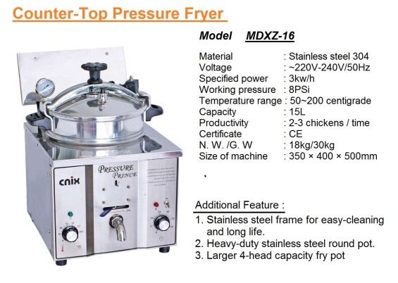 F2 Table-Top-Chicken Pressure Deep Fryer MDXZ-16 pengoreng