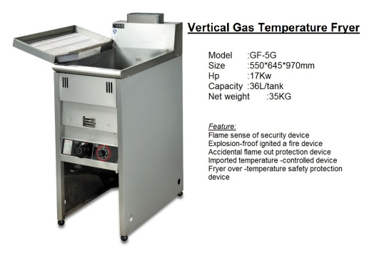 F2 Vertical Deep Gas Fryer GF-5G pengoreng