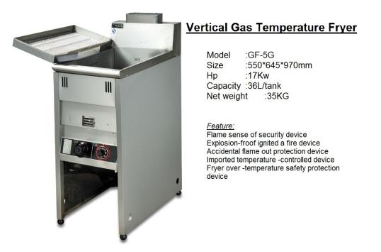 F2 Vertical Deep Gas Fryer GF-5G pengoreng