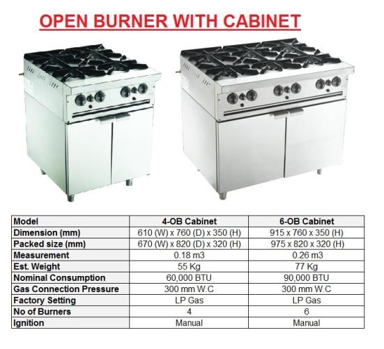E9 Open burner - cabinet Dapur Memasak