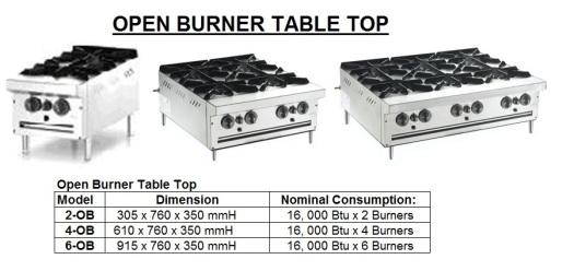 E9 OPEN BURNER TABLE TOP Dapur Memasak