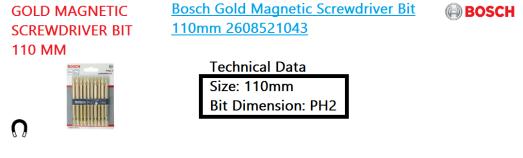 gold-magnetic-screwdriver-bit-110mm-bosch-power-tool