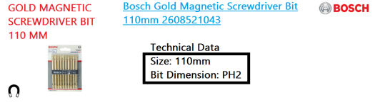 gold-magnetic-screwdriver-bit-110mm-bosch-power-tool
