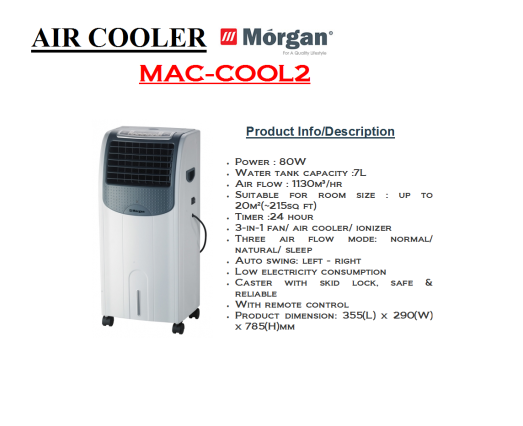 air cooler- MAC COOL 2 (Penyejuk Udara)