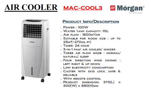 air cooler-MAC COOL 3(Penyejuk Udara)
