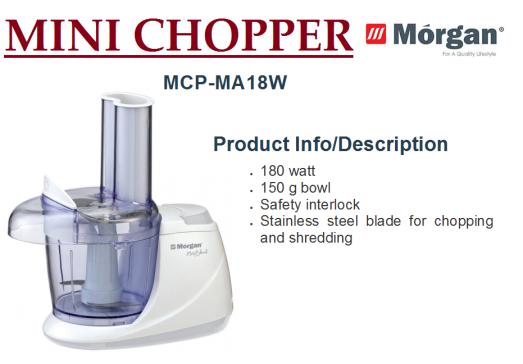 mini chopper MCP-MA18W(Pengisar Mini)