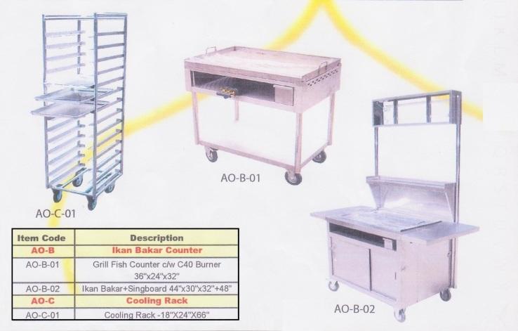 16b Ikan Bakar Counter (gerai dan kauunter ikan bakar), Cooling Rack (rak penyejukan)