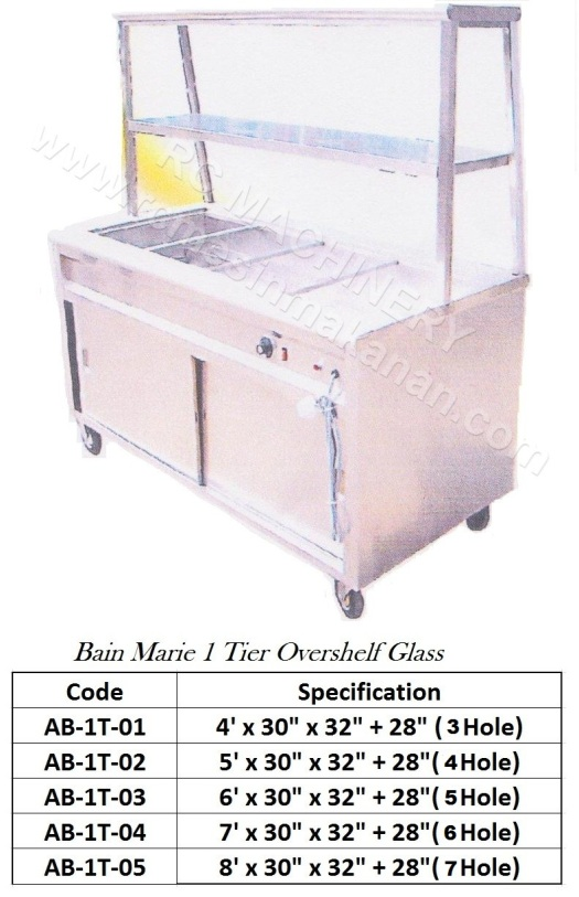 AB-1T(Bain Marie 1 Tier Overshelf Glass)