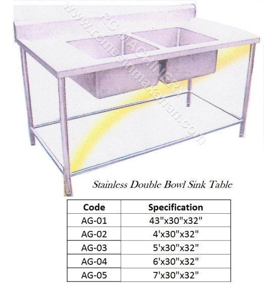 Stainless Steel Double Sink Table
