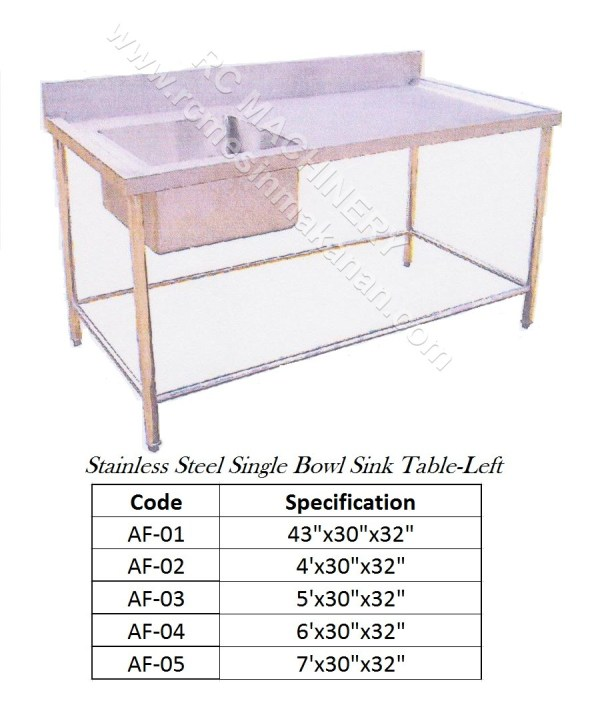 Stainless Steel Single Bowl Sink Table-Left