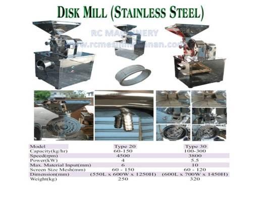 disk mill stainless steel, disk mill, mesin pengisar, mesin mengisar beras dan kacang