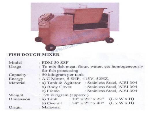 fish dough mixer, horizontal dough mixer, mesin pengadun, mixer, FDM50 SSF