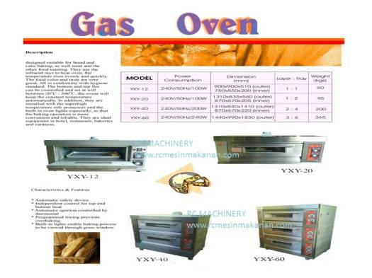 gas oven,  oven gas, ketuhar gas, mesin membuat kuih dan kek, mesin membakar kuih dan kek gas