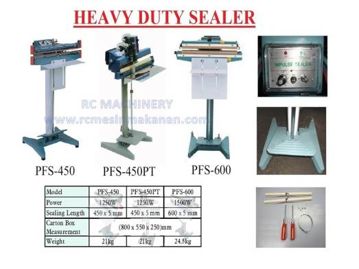heavy duty sealer, sealer foot type, sealing foot type, sealer