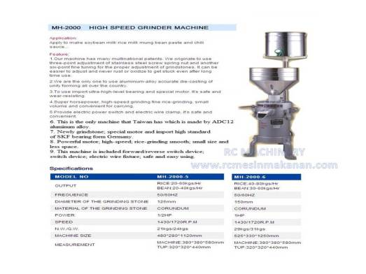 high speed grinder machine, mesin cili boh, grinder machine