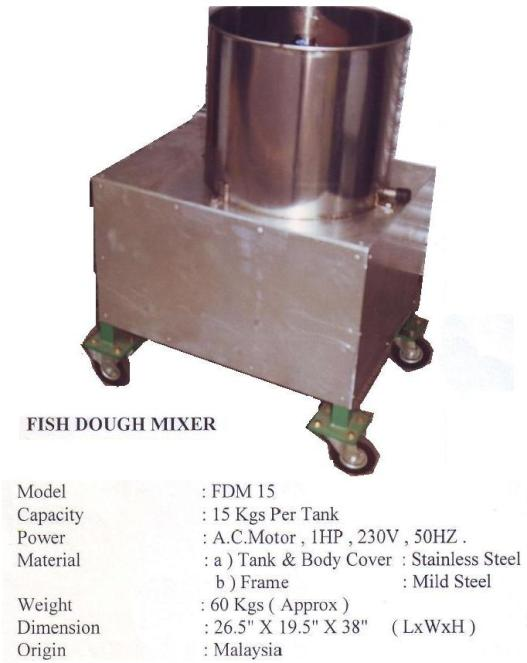 I5 Fish Dough Mixer FDM15 Mesin pengaul daging ikan