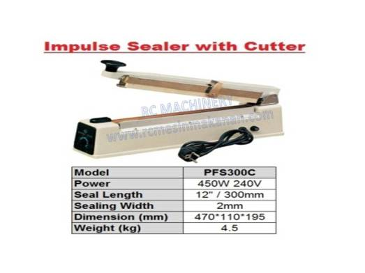 impulse sealer with cutter , hand sealer, sealer, seal, impulse sealer