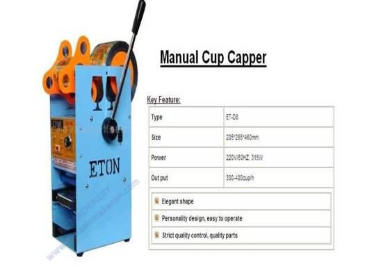 manual cup capper, cup sealer, cup sealing