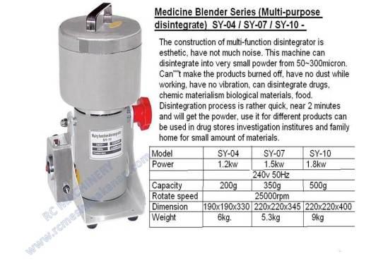 medicine blender, multi-purpose disintegrate, mesin pengisar