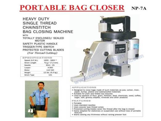 portable bag closer, bag sealer, heavy duty bag closer machine