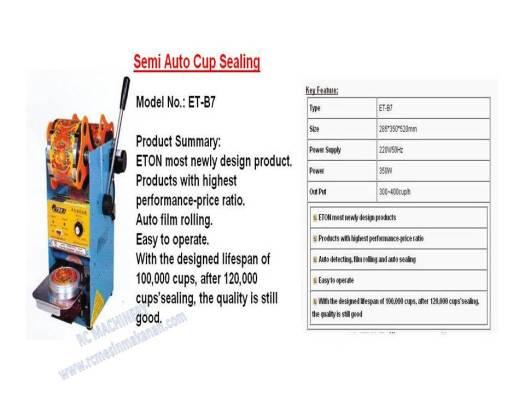 semi-auto cup sealing, cup sealer, cup sealing