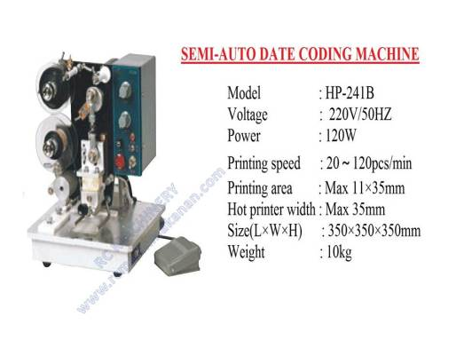 semi auto date coding machine, mesin expiry date, coding machine
