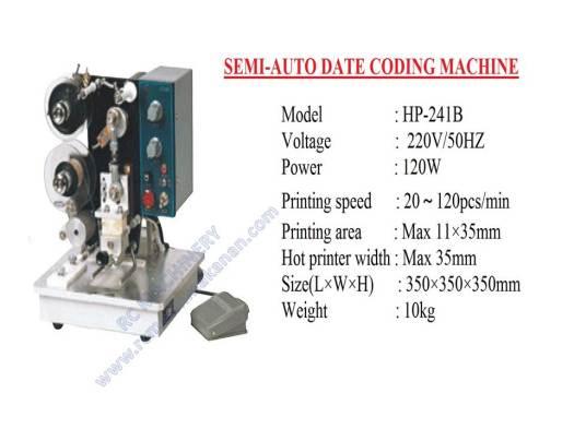 semi auto date coding machine, mesin expiry date, coding machine