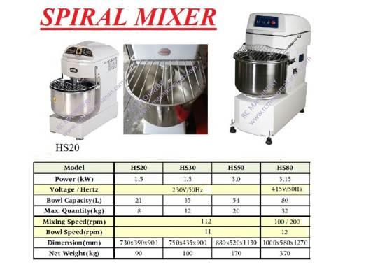 spiral mixer, pengadun tepung, mesin membuat kuih dan roti, mixer roti canai, mixer hs-20, hs-30, hs-50, hs-80