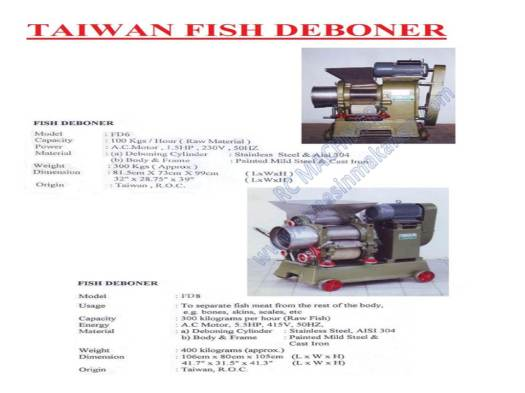 taiwan fish deboner, FD6, mesin membuang tulang ikan, mesin ikan, ish deboner