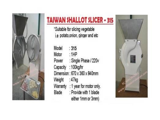taiwan shallot slicer, 315, slicer, pemotong bawang, ubi kentang, bawang