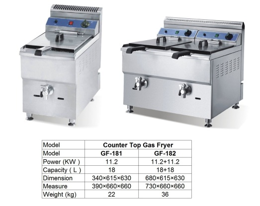 F1 Counter Top Gas Fryer GF-182
