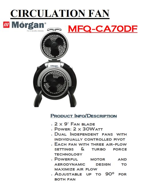 circulation fan MFQ-CA70DF(Dapur Seramik)