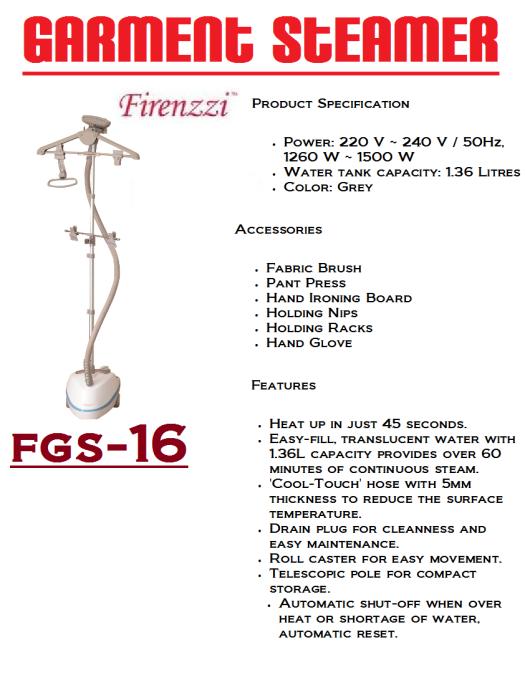 garment steamer-FGS-16(Pengewap Pakaian)