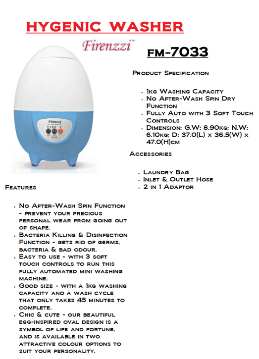 hygenic washer-FM-7033(Mesin Pembasuh Baju Dalam Wanita)