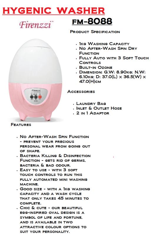 hygenic washer-FM-8088(Mesin Pembasuh Baju Dalam Wanita)