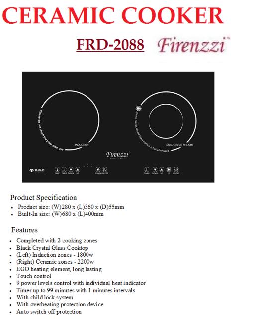 induction+ceramic cooker FRD-2088(Dapur Induksi Seramik