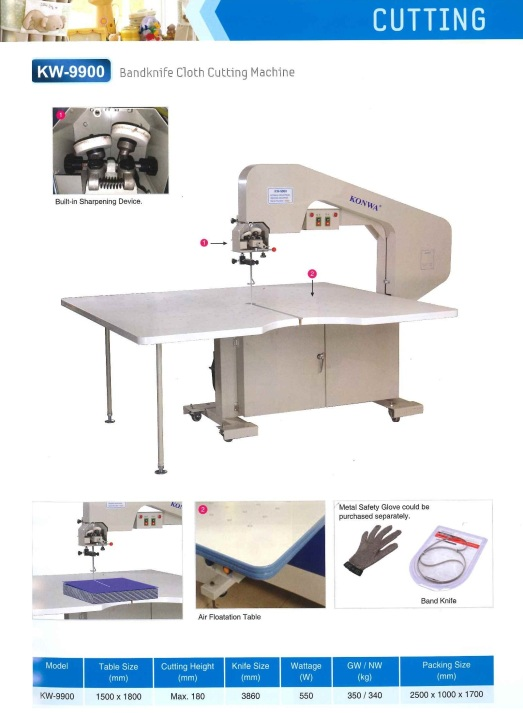 cutting band knife cloth cutting machine pisau band mesin pemotong kain