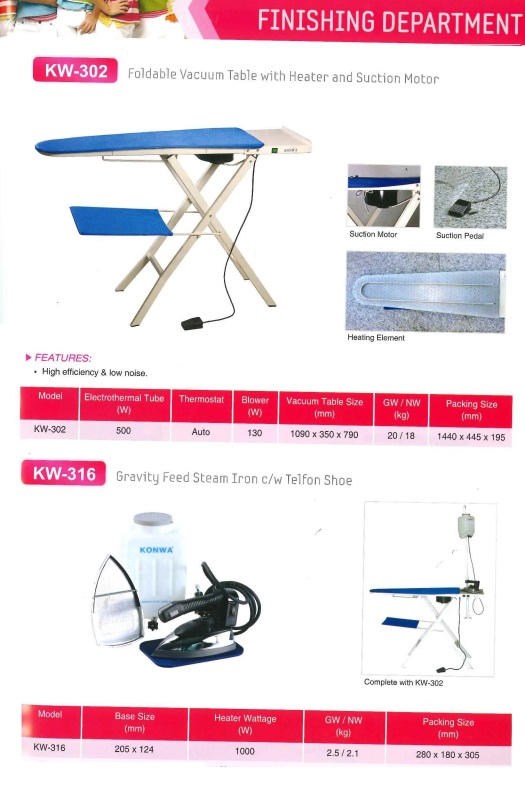 finishing department KW-302 foldable vacuum table with heater and suction moto and KW-316 gravity feed steam iron CW telfon shoe jabatan kemasan KW-302 vakum jadual dilipat dengan pemanas dan sedutan mo