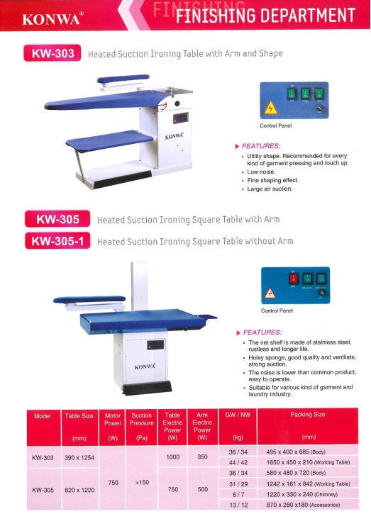 finishing department KW-303 heated suction ironing table with arm and shape KW-305 heated suction ironing square table with arm KW-305-1 heated suction iron square table without arm