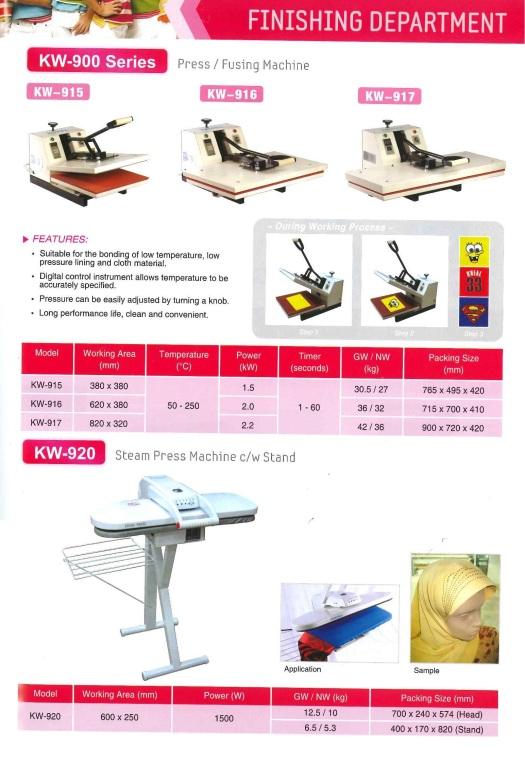 finishing department KW-900 series press or fusing machine KW-920 steam press machine CW stand jabatan kemasan KW-900 siri akhbar atau mesin menggabungkan KW-920 akhbar wap pendirian mesin CW