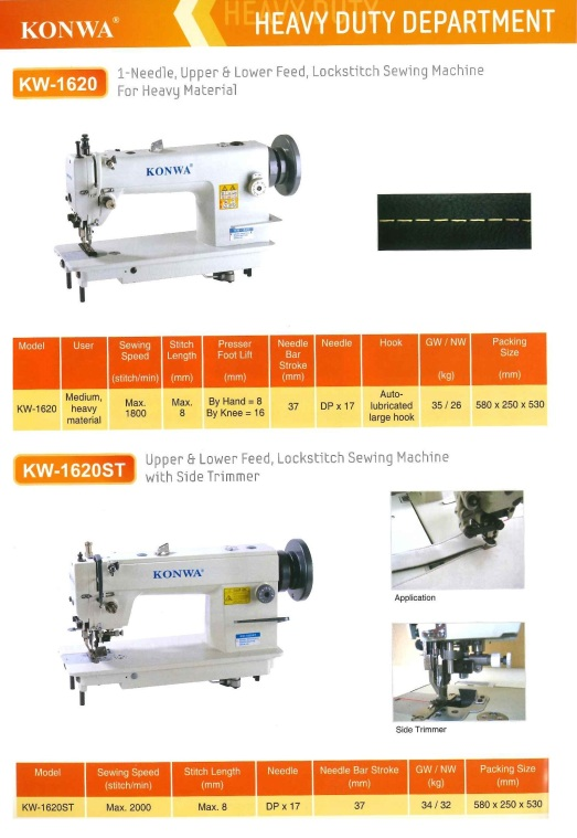 heavy duty department KW-1620 1- needle,upper and lower feed,lockstitch sewing machine for heavy material KW-1620ST upper and lower feed,lockstitch sewing machine with side trimmer abatan tugas berat