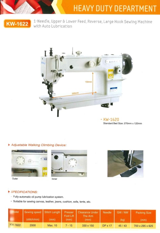 heavy duty department KW-1622 1-needle,upper and lower feed,reverse,large hook sewing machine with auto lubrication tugas berat jabatan KW 1622 1 jarum,makanan