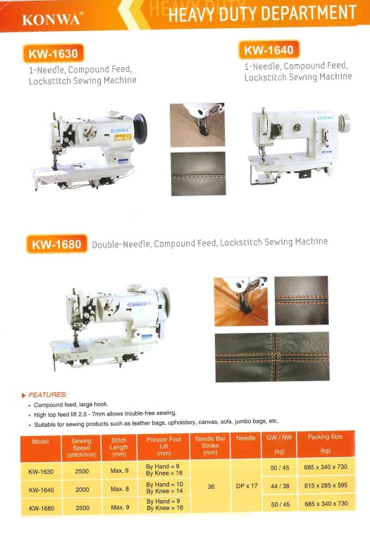heavy duty department KW-1630 1-needle compond feed,lockstitch sewing machine KW-1640 1-needle and lower feed,lockstitch sewing machine with side trimmer jabatan tugas berat KW-1630 1-jarum makanan com