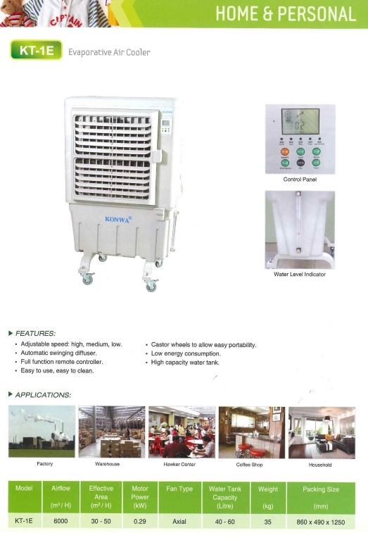 home and personal kt-1e evaporative air cooler