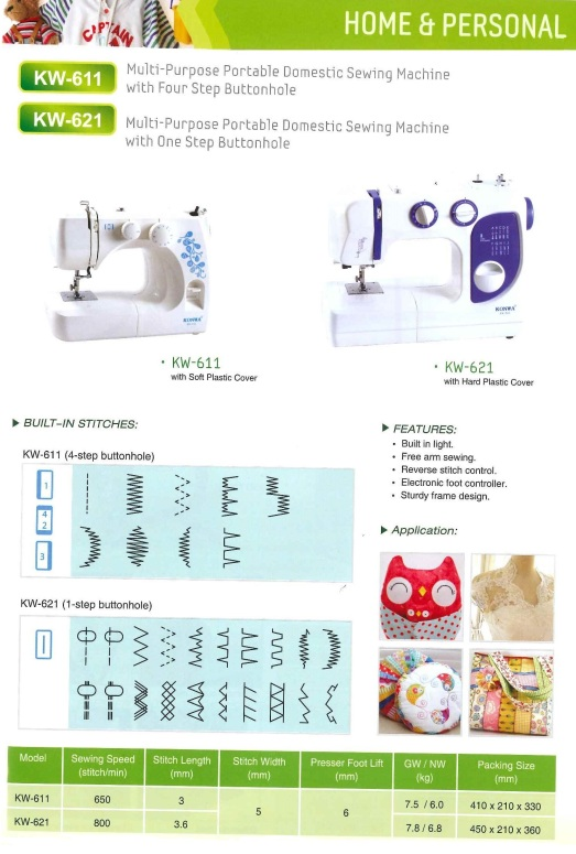 Home and personal KW-611 Multi-purpose portable domestic sewing machine with four step buttonhole KW-621 Multi0purpose potable domestic sewing machine with one step buttonhole