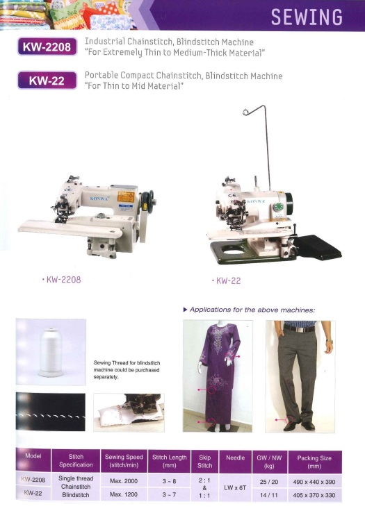 industrial chainstitch blind stitch machine for extremely thin to medium thick material chainstitch industri mesin jahitan buta untuk amat nipis untuk bahan tebal sederhana
