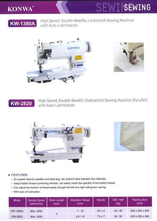 KW-1380A high speed double needle,lock stitch sewing machine with auto lubrication and KW-2820 high speed double needle chaintitch sewing machine parallel with auto lubrication KW-1380A kelajuan tinggi jar