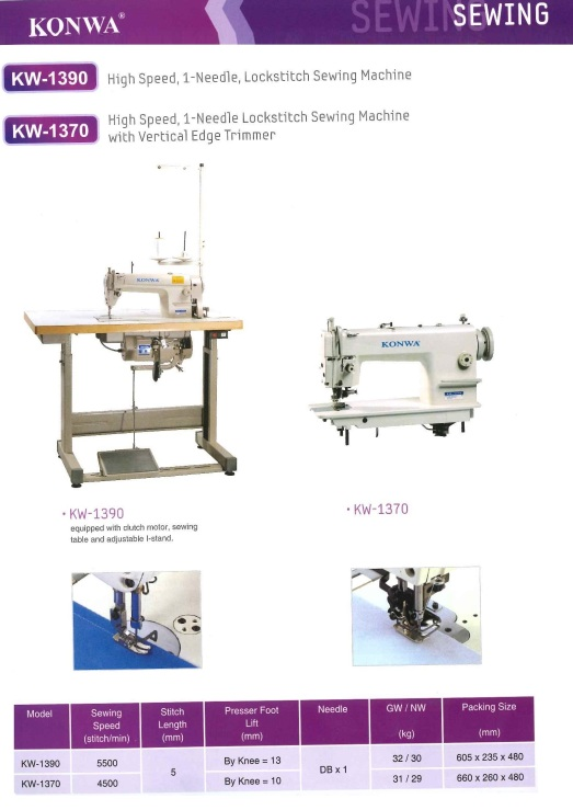 SEWING HIGH SPEED,1-NEEDLE, LOCK STITCH SEWING MACHINE KW-1370 HIGH SPEED, 1-NEEDLE LOCKSTITCH SEWING MACHINE WITH VERTICAL EDGE TRIMMER mesin jahit dengan perapi tepi menegak dan 1 jarum, jahitan kunci me